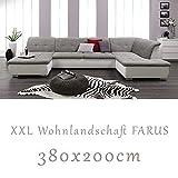 Wohnlandschaft-Couchgarnitur-XXL-Sofa-U-Form-weissgrau-Ottomane-rechts