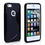 BLACK SILICONE GEL S LINE CASE COVER FOR IPHONE 5C Including Screen Protector & Polishing Cloth By Connect Zone�