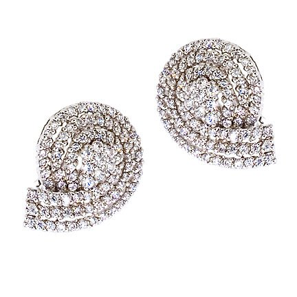 Cubic Zirconia Diamond Platinum Plated Cluster Stud Earrings (Nice Holiday Gift, Special Black Firday Sale)