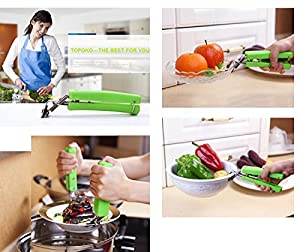Topoko Kitchen Stainless Steel Exquisite Bowl Pot Pan Gripper Clip Hot Dish Plate Bowl Clip Retriever Tongs(RANDOM COLOR)