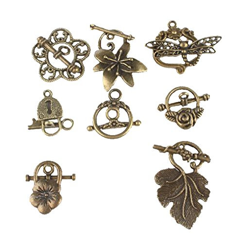 Mixed Eight Shapes Charms Antique Bronze Alloy Toggle Clasp Jewelry Findings(24pcs) (Toggle Clasps For Jewelry Making compare prices)