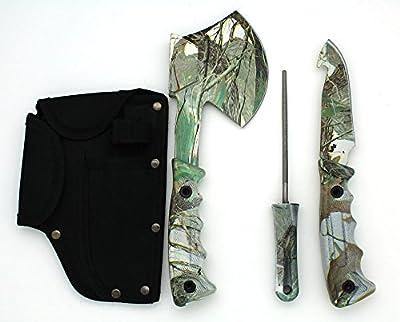 Snake Eye Tactical Heavy Duty 4PC Big Game Hunting Knife Set Light Green Camo Camping Fishing