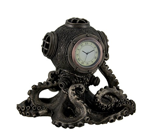 Bronze Finish Steampunk Octopus Diving Bell Clock Statue
