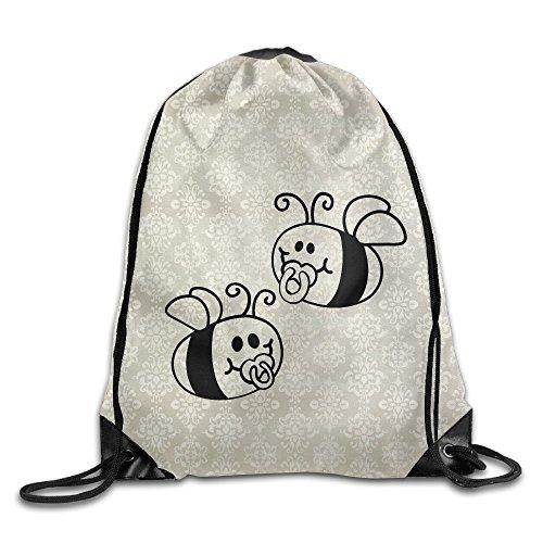 BERTHA Unisex Bees Baby Pacifier Drawstring Beam Port Gym Backpack ()
