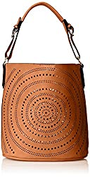 MG Collection Calista Perforated Shoulder Bag, Orange, One Size