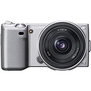 Sony Alpha NEX-5A/S Digital Camera with 16mm f/2.8 Lens (Silver) (OLD MODEL)