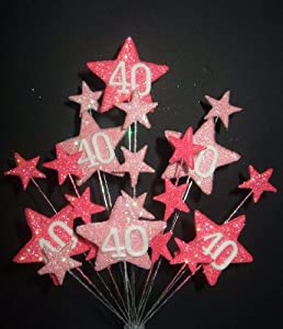 STAR AGE 40TH BIRTHDAY CAKE TOPPER DECORATION IN SHADES OF ...