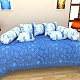 BRiDA Heritage Polycotton 8 Piece Diwan Set - Blue