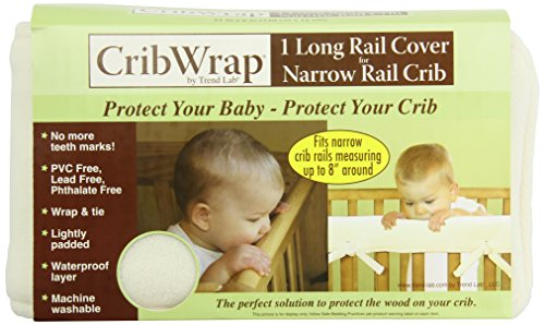 Trend-Lab-CribWrap-Fleece-Rail-Cover-for-Long-Rail-Natural-Narrow-for-Crib-Rails-Measuring-up-to-8-Around