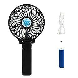 Rechargeable Fans Handheld Mini Fan Battery Operated Electric Personal Fans with Foldable Fans Hand Bar Desktop Fan Hand Fans Green Black