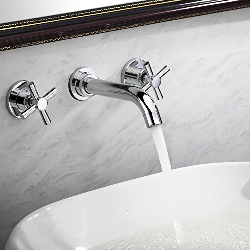 Lightinthebox® Contemporary Widespread Bathroom Sink Faucet Wall Mount Two Handles Bathroom Bathtub Mixer Taps Bath Tub Faucets Long Curve Spout Bar Faucets Two Handles Wall Mount Bath Shower Faucets Lavatory Plumbing Fixtures (Tub Spout And Handles compare prices)
