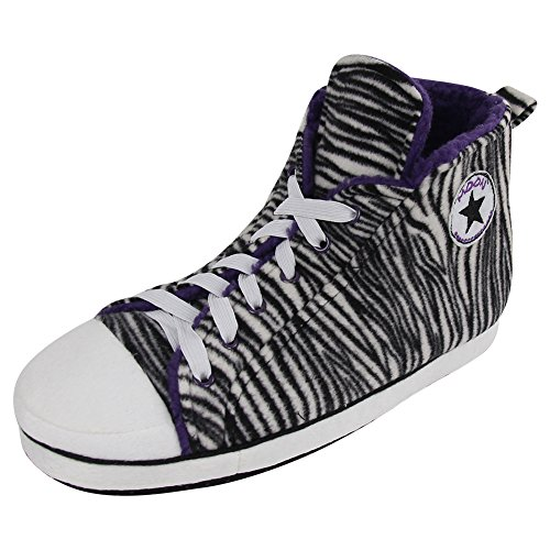 Home Slipper Men's Plush Fleece Non Slip Outsole Zebra Print Striped Pattern High Top Indoor House Sneakers Slippers,US 12 (Zebra High Tops compare prices)