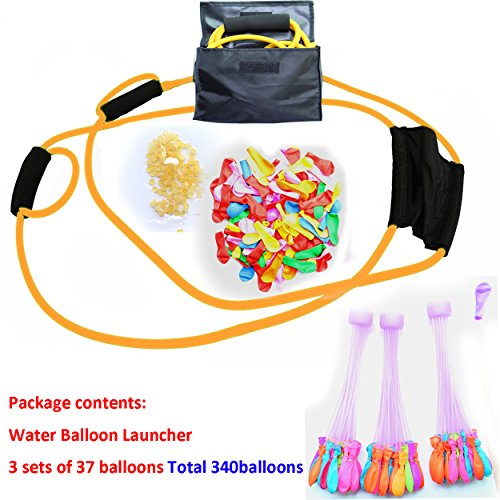 Water Balloon Launcher kit,340 FREE Water Balloons And Carry Case,3 sets of 37 balloons Total 340 balloons 3 Person Extreme Launcher Slingshot.