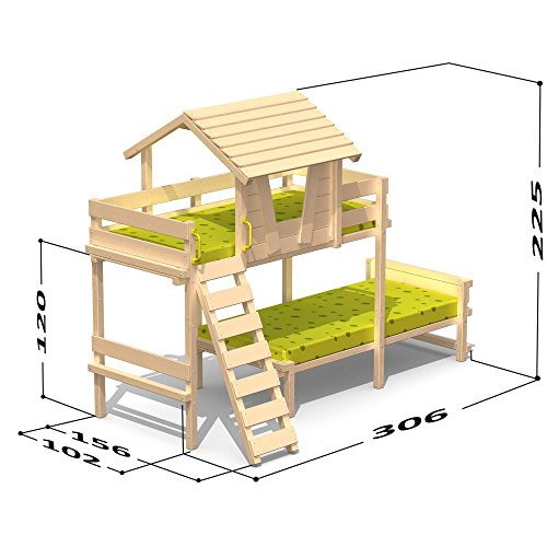 Wickey Lit superposé Lit mezzanine Lits enfant Sponge House Duo II 90x200cm