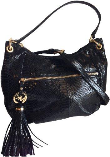 Michael Kors Charm Tassel Genuine Leather Convertible Shouder Bag Python Black