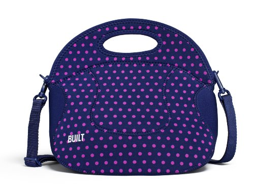 BUILT NY Spicy Relish Neoprene Lunch Bag with Adjustable Crossbody Strap, Mini Dot Navy (Built Insulated Lunch Bag compare prices)