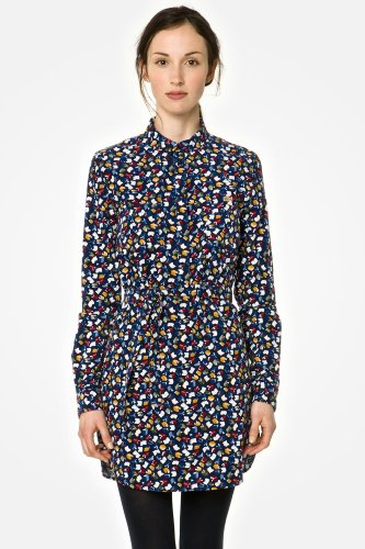 L!VE Long Sleeve Button Down Library Printed Dress