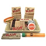 Bundle - 22 Items - RAW Rolling Paper, Pre-Rolled Tips, Paper Case, Mini Rolling Tray and Roller with RPD Grinder, Kewl Tube and Bracelet
