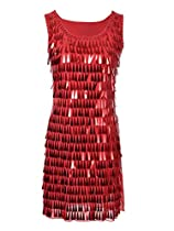 Anna-Kaci S/M Fit Red Organza Rhinstone and Sequin Embellished Party Dress