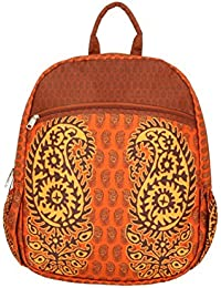 """Ethnic Print Faux Silk Backpack - Waterproof Polyester Fabric - 17"""" X 13"""" - Adjustable 40"""" Straps - Made In India"""