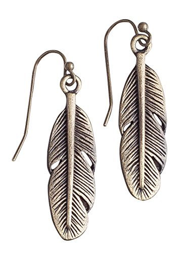 Bohemia Feather Antique Gold Brass Earrings - Spunky Soul Collection (gold-plated-base)