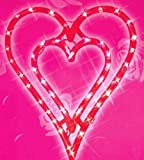 """17"""" Lighted Valentine's Day Double Heart Window Silhouette Decoration"""
