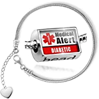 Charm Set Medical Alert Red Diabetic - Bead comes with Bracelet , Neonblond from NEONBLOND
