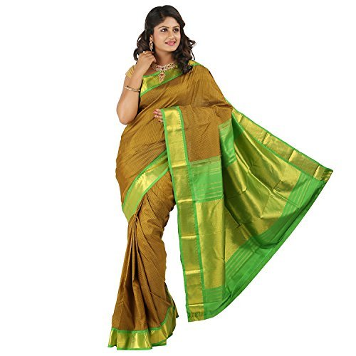 PSSB Kanchipuram Silk Sarees Handloom Double warp Pure Silk Jari Tissue Mundi small checks
