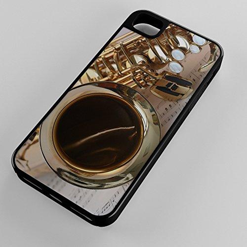Saxophone Brass Instrument Music Gold Gloss Notenblatt Keys Black Hybrid Case for Apple iPhone 5/5