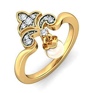 Certified 18K Yellow Gold, 0.1 cttw White Diamond (IJ | SI ) Off White Pearl & Diamond Ring Size - 10.5