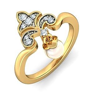 Certified 18K Yellow Gold, 0.1 cttw White Diamond (FG | VVS ) Off White Pearl & Diamond Ring Size - 11