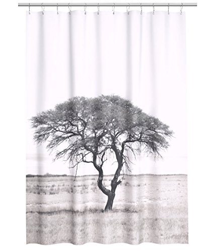 Water Repellent Fabric Shower Curtain Tree Print Black and White Tree Shower Curtain
