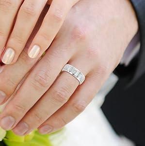 Diamond Eternity Wedding Band Ring for Men in 14k White Gold