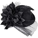 Tinksky Flower Decor Hair Clip Feather Punk Mini Top Hat for Ladies- One Size (Black)
