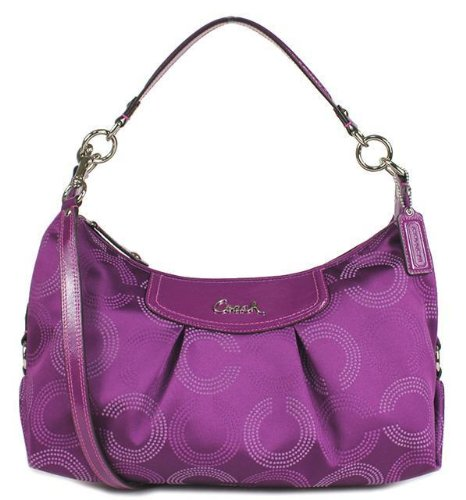 Coach Ashley Dotted Hobo Bag F20031 Berry Berry