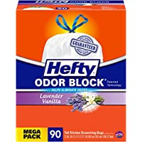 Hefty Odor Block Tall Kitchen Trash Bags, Lavender Vanilla, 90 Count