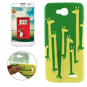 Crazy4Gadget Cartoon Giraffe Pattern Transparent Edge TPU Protective Case for LG L90 / D405