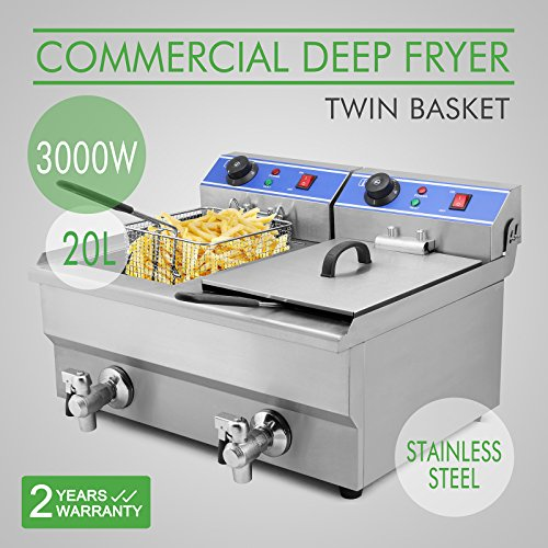 Cheapest Prices! OrangeA Deep Fryer Commercial Deep Fryer Electric Countertop 20L Dual Tank with Digital Timer and Drain French Fry (20L Dual Tank 3000W)