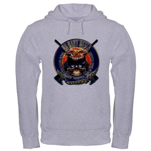 Cafepress Us Navy Seals Run Die Tired Hooded Sweatshirt - L Heather Grey