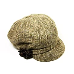 Irish Cap for Women 100% Wool Brown Newsboy