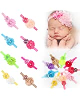 ROEWELL® 9 Pieces Baby's Headbands Girl's Cute Hair Bows Hair bands Newborn headband (9 Pack)
