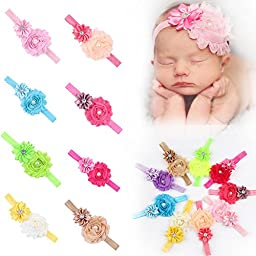 ROEWELL® Baby\'s Headbands Girl\'s Cute Hair Bows Hair bands Newborn headband (9 Pack)