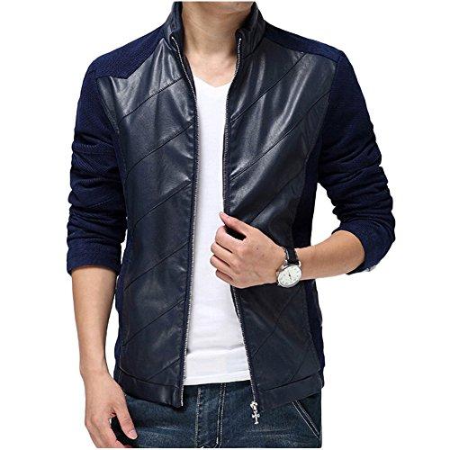 Vogstyle Voguees Herrn Diagonal Stripes Patchwork Strickjacke Mantel Jacke Blau L