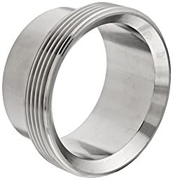 Dixon 15A-G300 Stainless Steel 304 Sanitary Fitting, Long Threaded Bevel Seat Weld Ferrule, 3\