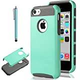 iPhone 5C Case, ULAK 2in1 Hybrid TPU+PC Hard Case Cover for iPhone 5C with Screen Protector and Stylus (Light Blue+Gray)