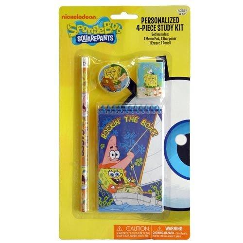 Sponge Bob 4 Piece Personalized Study Kit/Stationery Set, School Supplies