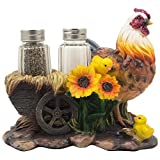Mother Hen and Chicks Glass Salt and Pepper Shaker Set with Decorative Sunflowers & Old Fashioned Hay Wagon Accents for Rustic Country Kitchen Decor Figurines or Display Stands Featuring Farm Animals, Roosters or Chickens As Gifts for Farmers