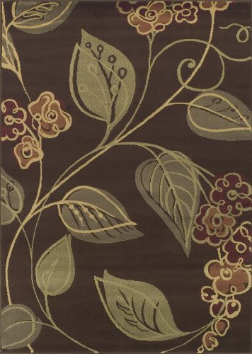 Dalyn Carlisle Chocolate, Olive, Red, Sage Graphic Floral Vine Patterns On 4-Feet 11-Inch by 7-Feet Area Rug