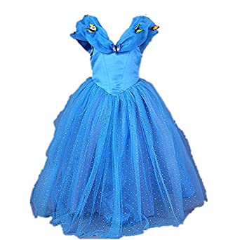 Starkma 2015 Movie Girls Cinderella Dress Blue Butterflies Princess Costume 3-7year