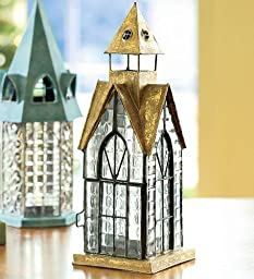Hampton Tealight Lantern Handcrafted of Metal and Textured Glass